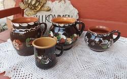 4 db virágos Sárospataki kerámia szilke köcsög korsó nosztalgia paraszti  falusi dekoráció