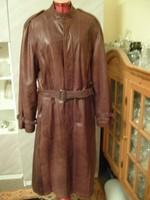 M1-12-ig  Vintage  Bordó barna hosszú extra luxus klasszikus bőrkabát 38-40-es