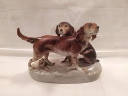 Nagyméretű Royal Dux porcelán kutyák Hibátlan