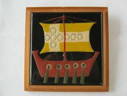 Bolbáné Szeles Magda retro iparművész kerámia hajós fali kép