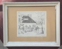 BALOGH PÉTER: Vadászat, rézkarc (21x24,5 cm) természet, állatok, történelmi, vadászház, puskák