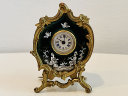 Neoclassical fire enameled table clock France 1880's