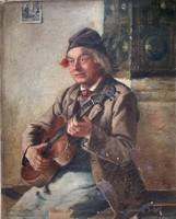 Antik németalföldi festmény  A hegedűs