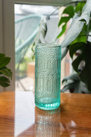 Skandináv stílusú mid-century modern design váza - zöldes árnyalat - retro üveg