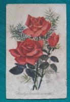 Régi virágos képeslap,rajz Tövisváry Olga,rózsás képeslap,Offset,1966