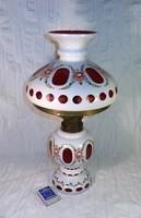 Régi, üveg asztali petróleumlámpa