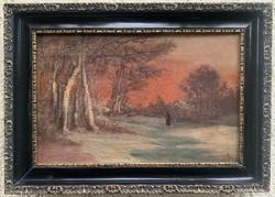 Mednyánszky - Téli naplemente antik olaj vászon festmény