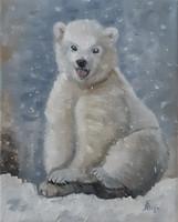 Antyipina Galina: Jegesmedve, olajfestmény, vászon. 25x20cm