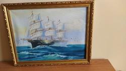 Szépen megfestett Hangulatos hajós festmény