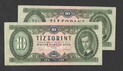 10 forint 1969. 2 db.sorszám követő!!  aUNC/UNC!!  GYÖNYÖRŰEK!!
