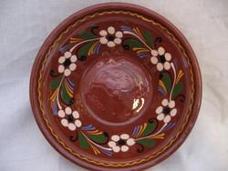 HMV vásárhelyi barna, virágos fali tál, tányér