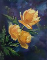 Antyipina Galina: Sárga virágok, olajfestmény, vászon. 30x25cm