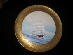 Festett porcelán csempe ,jelzett , réz kerettel , a csempe ,16 cm a ráma  31 cm