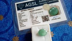 Természetes 6.10 karátos kolumbiai smaragd drágakő AGSL tanúsítvánnyal