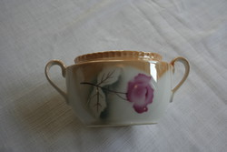 Irizáló gyöngyházfényű sárga színű és rózsaszín rózsa mintájú Victoria cukortartó - régi