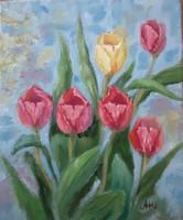 Antyipina Galina: Tulipánok, olajfestmény, vászon, festő kés. 30x25cm