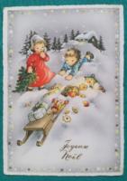 Bájos ,régi külföldi karácsonyi képeslap 1965 - futott