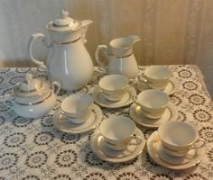 Thun arany szegélyes, rózsafogós kávéskészlet ( Csehszlovák )
