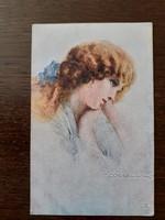 Régi képeslap 1921 Tito Corbella női portré art deco levelezőlap