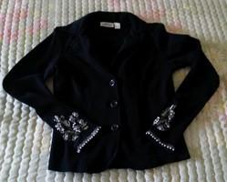 Fekete alkalmi blézer, kabátka, ujjain gazdag gyöngy és flitter díszítéssel, 34-es