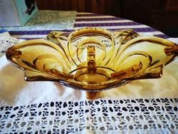 Gyönyörű borostyán színű talpas üveg asztalközép, gyümölcsösös tál
