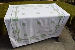 Vintage festett nyomott mintás abrosz , asztal terítő , lakás textilia 127 x 105 cm