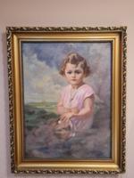 Hollósi Endre - Kislány portré -  Nagyméretű festmény