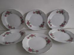 Porcelán - 6 db -  JELZETT - kínai - sütis tányér - 17,5 cm - hibátlan