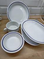 Alföldi csomag: 5db Alföldi kék csíkos retró tányér