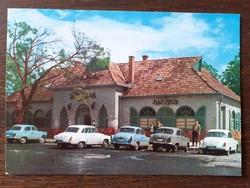 Régi képeslap Balatonszárszó Vén Diófa étterem veterán autók