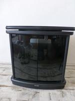 Forgatható tetejű,retro,vintage,mid-century fekete komód,tv szekrény