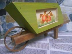 Talicska fa asztali dísz virágtartó játék almás 27*13*9 cm