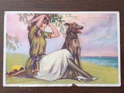 Régi 1923 képeslap T. Corbella nő kutyával art deco levelezőlap