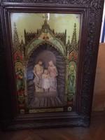 Zenélő Házi oltár, szent család, csodás antik