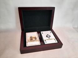 Fa kártyadoboz két pakli új fóliázott Piatnik francia kártyával