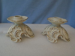 Antik német ROKOKO  porcelán  gyertyatartók párban VITRIN ÁLLAPOTBAN