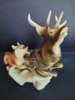 Nagyméretű Royal Dux porcelán szarvas és farkas.  8888.-Ft