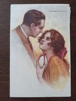 Régi képeslap 1924 Tito Corbella szerelmespár art deco levelezőlap
