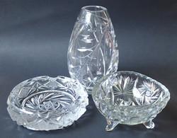 3 db szép állapotú régi retró kristály hamutartó hamutál váza kínáló tál