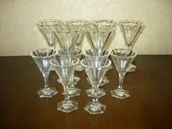 Antik hámozott üveg pohárkészlet