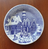 Ironstone Tableware angol jelenetes kék porcelán tányér