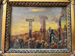Calvary Jesus on the cross with the 2 lator, antique, stunning effect!