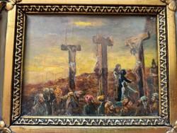 Extra leárazás: GOLGOTA Jézus a keresztfán a 2 latorral, antik, döbbenetes hatású!