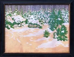 Olgyai Viktor (1870-1929): Behavazott téli erdő - hatalmas méretű litográfia, korabeli keretben