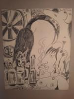 Miklós Németh: smoking nude with a cat, pencil drawing, graphics, painting