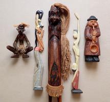 5 db régi retró afrikai indiai egzotikus fa faragás fafaragás faragott szobor figura csomag
