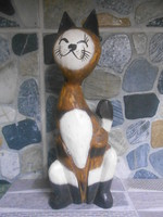 Macska cica szobor fa faragott indonéz keleti 25*9*7 cm