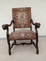 Antik reneszánsz gobelin lyukas kárpitopzású dúsan faragott karfás karos szék karosszék 4199