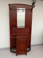 Antik tölgyfa fogas ruha akasztó előszobafal előszoba fal tükörrel 4200
