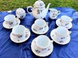 Gyümölcs mintás ritka Hollóházi teás készlet